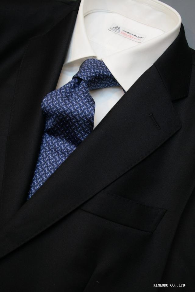 ネイビーの三角と丸が並んだ小紋のプリントタイ イタリア老舗ネクタイメーカーALBENIアルベニ社製