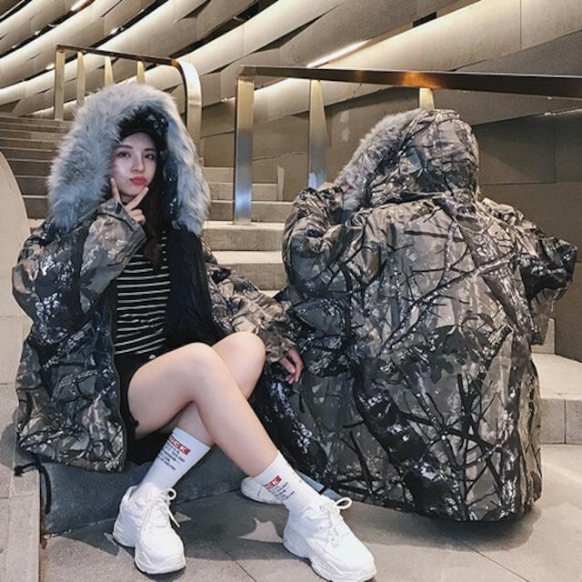 【アウター】ファッションレトロ切り替えジッパーフード付きカモフラダウンコート42920185