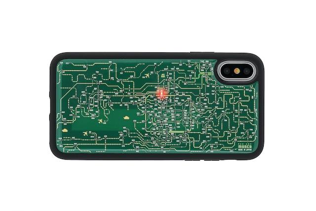 FLASH 関西回路線図 iPhoneX/XSケース 緑【東京回路線図A5クリアファイルをプレゼント】