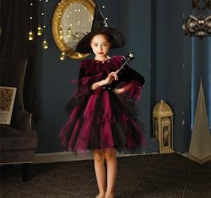 3549ハロウィン衣装 女の子 子供 キッズ 長袖 コスプレ衣装 コスチューム 魔女