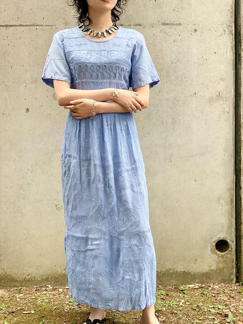 Vintage Sax Blue Embroidered Dress