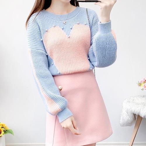 2色/パールデザインハートセーター ・18713