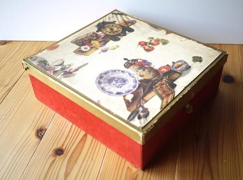 ヴィンテージ大きな箱 ワイン scharlachberg 収納 ベルベット アンティーク紙箱 裁縫箱