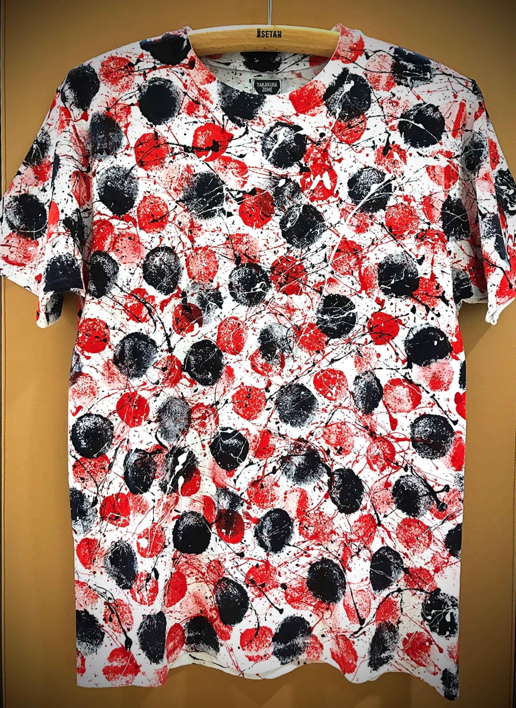 Freedom ドットシブキTシャツ(白地×黒+赤モチーフ)