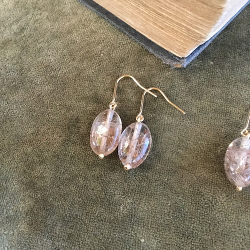 Owly.original pierce & earring(ブラウンルチルクォーツ)