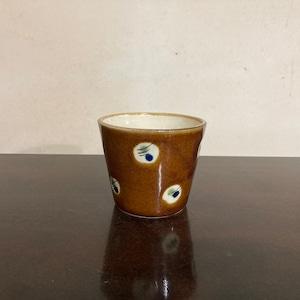 蕎麦猪口(そばちょこ)/蝋抜き 飴釉(茶)