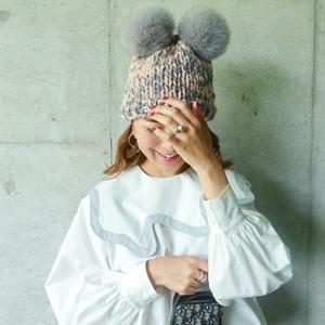 ポンポンファーニット帽(ピンク×グレー)
