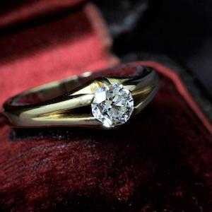 Single stone Diamond & Gold Ring シングルストーンダイヤモンド ゴールドリング
