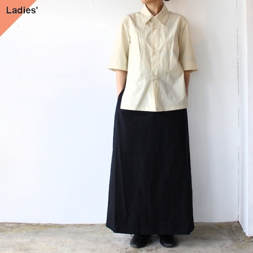 THE HINOKI Organic cotton poplin setup dress コットンポプリンドレス TH21S-22 White asparagus×Midnight