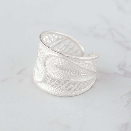 ダブルリーフ リング / 銀線細工(指輪)