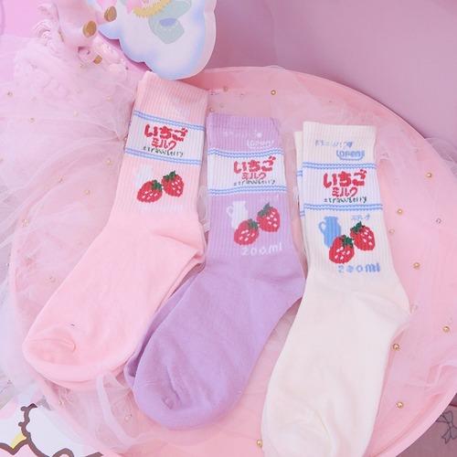 【雑貨】いちごミルク 靴下 3種