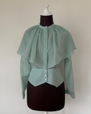 New!!  Cape collar blouse/Mint (2021 New collection)
