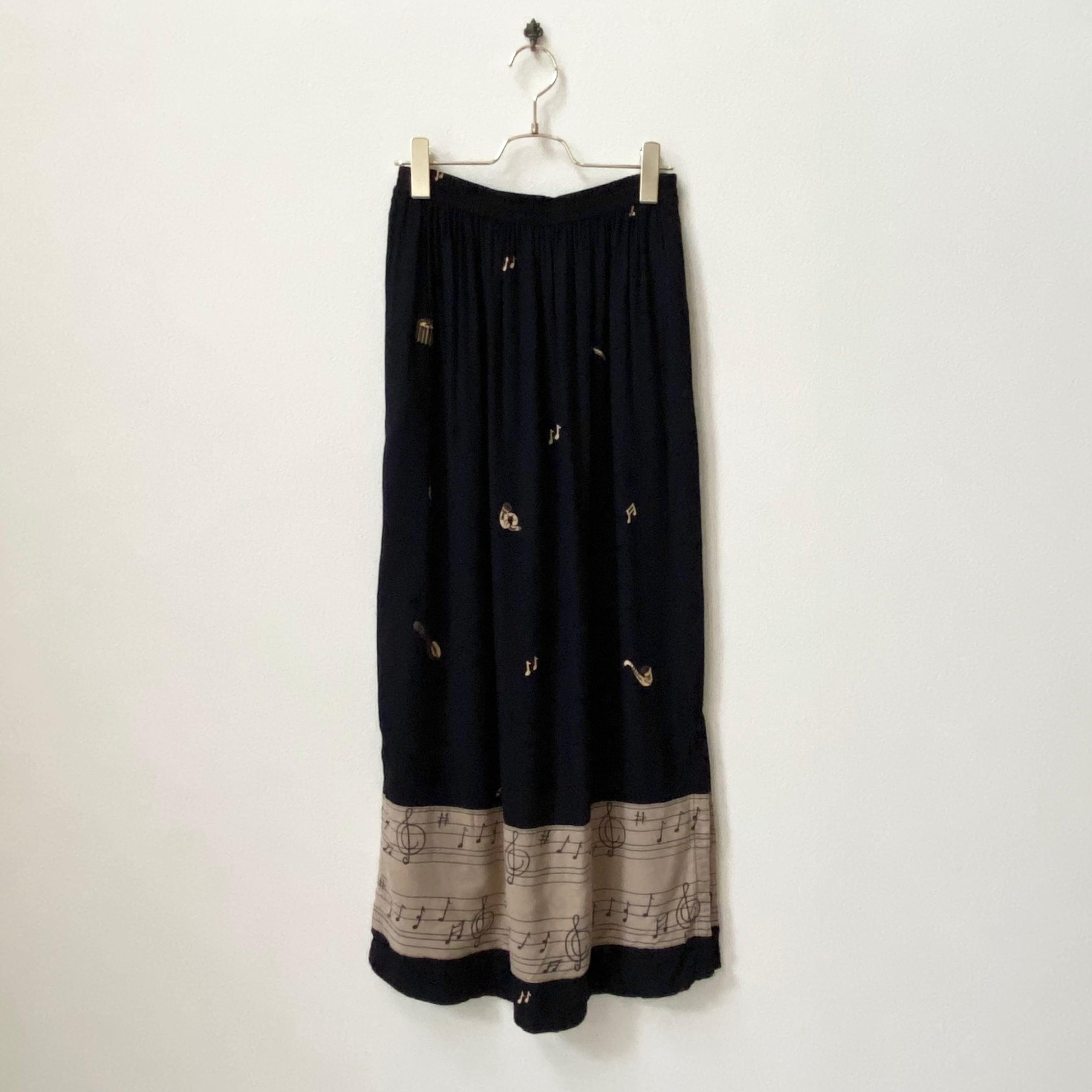 レディース ASIAN CREATIONS ギャザースカート ミュージックプリント アメリカ 古着 レーヨン ブラック 日本M