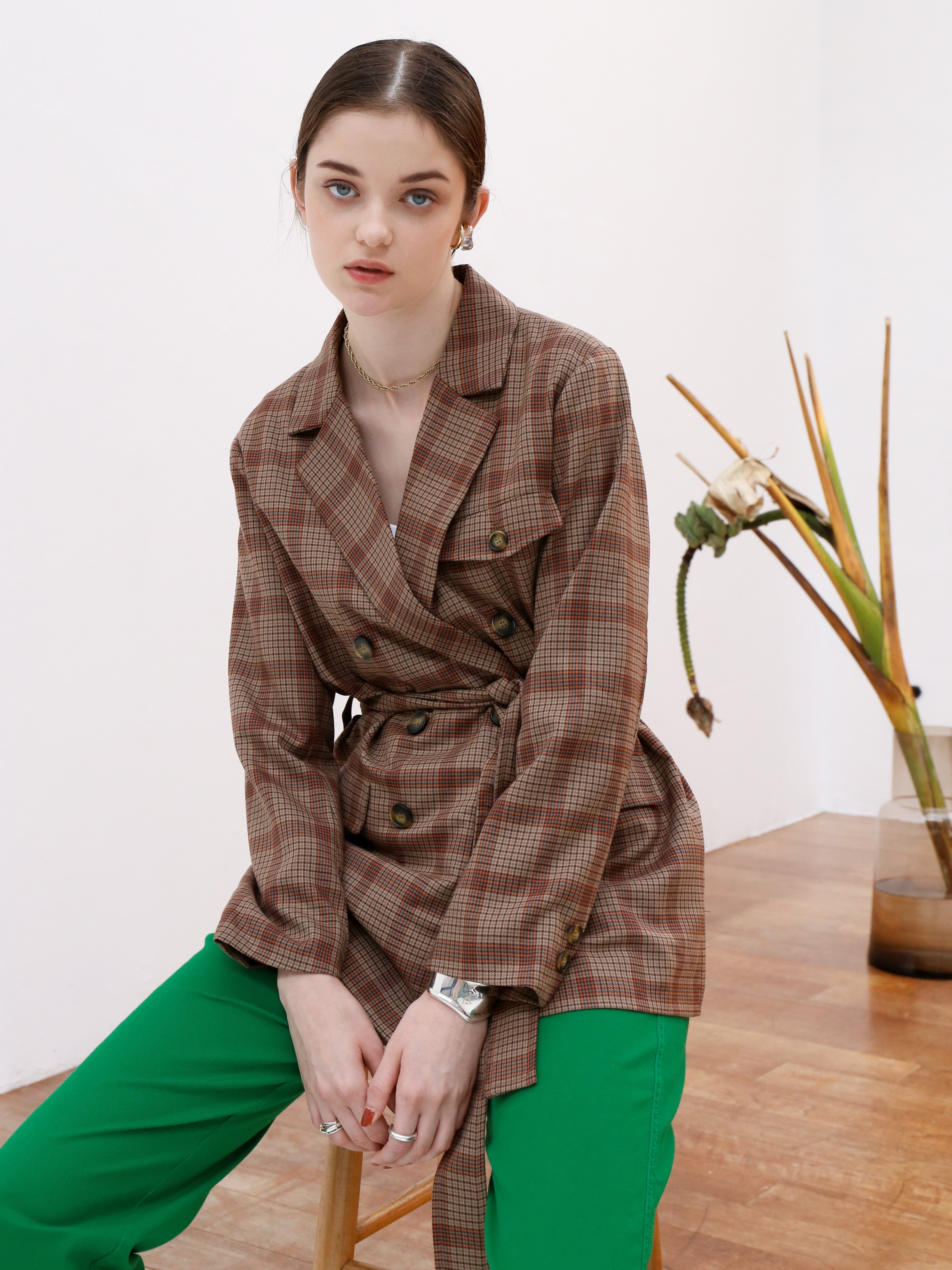 double-breasted jacket(brown check)