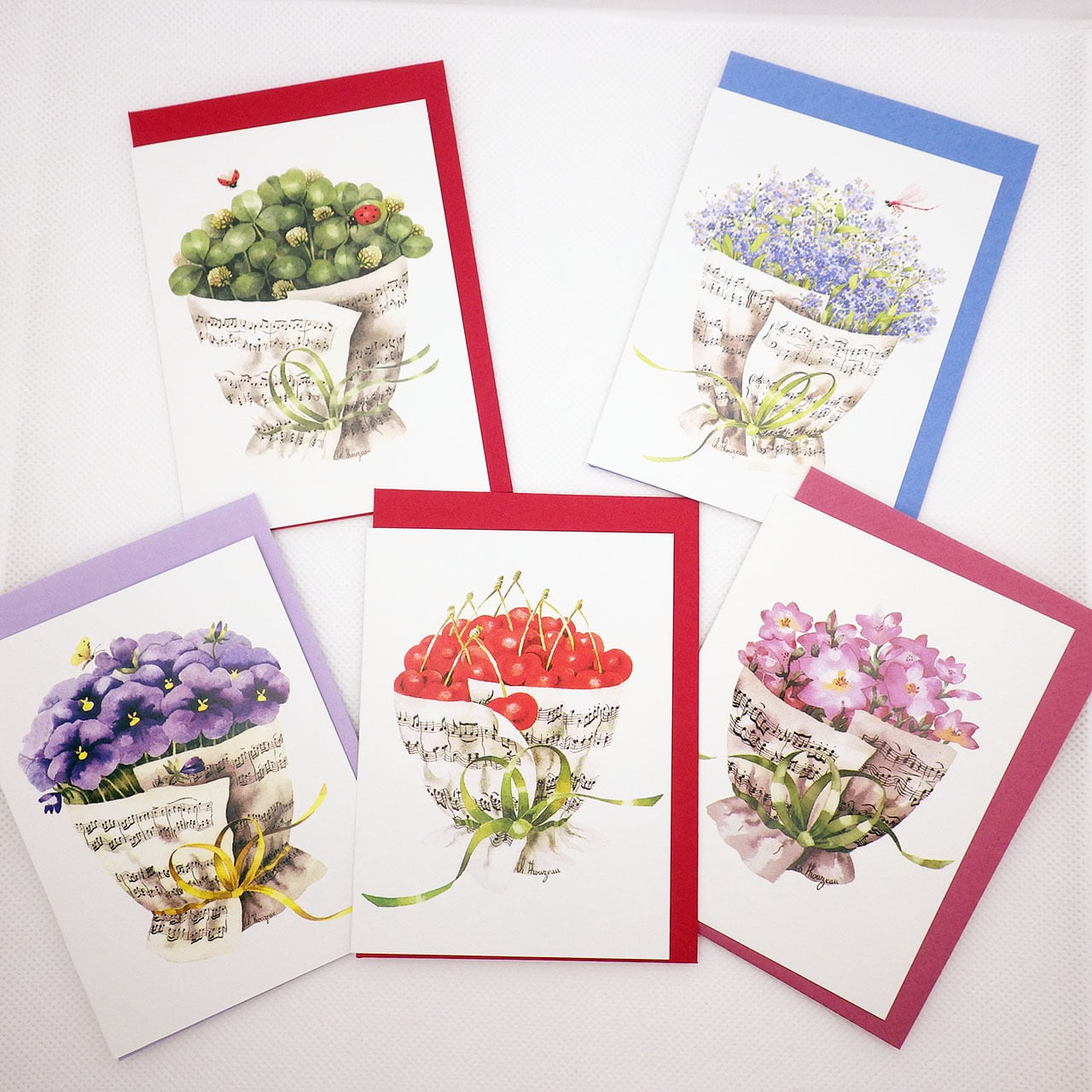 音楽の花束【チェリー】 メッセージカード5枚セット ドイツ製