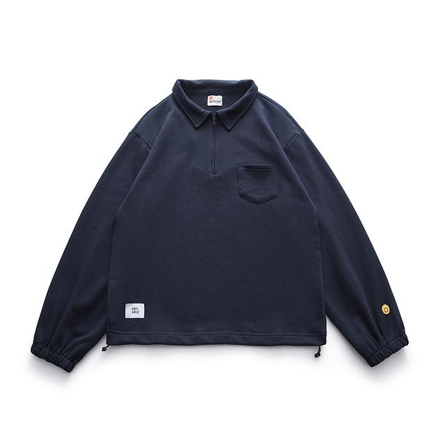 ハーフジップロングポロシャツ |刺繍 オーバーサイズ ハーフジップ スマイリー