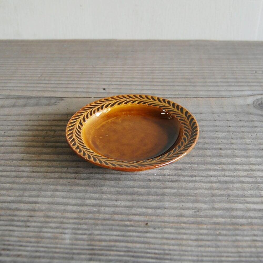 感器工房 波佐見焼 翔芳窯 ローズマリー リムプレート 皿 約10cm ブラウン 333072