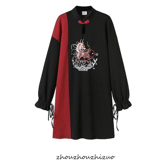 【篱笆外有只猫シリーズ】★チャイナ風ワンピース★ 刺繍 大きいサイズ 配色 着痩せ 配色 黒と赤