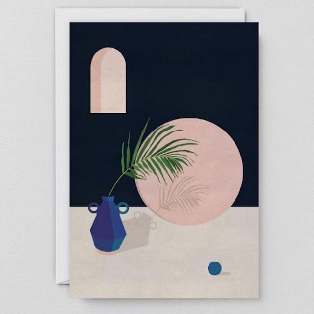 WRAP / BLUE VASE & LEAF  ART CARD -Artwork by Charlotte Taylor-