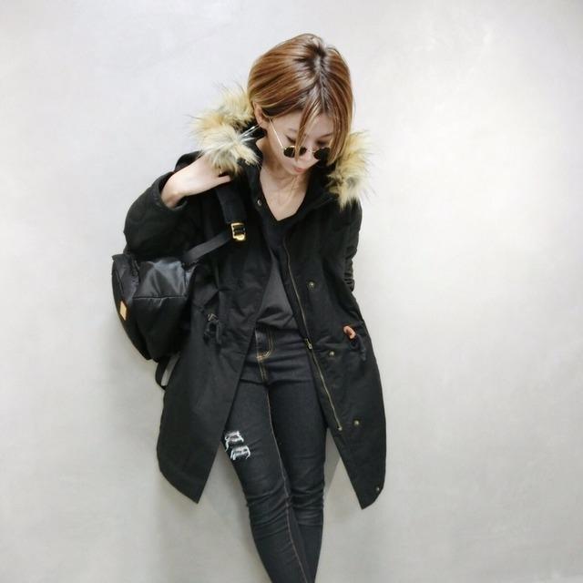 袖キルティングモッズCO/ブラック