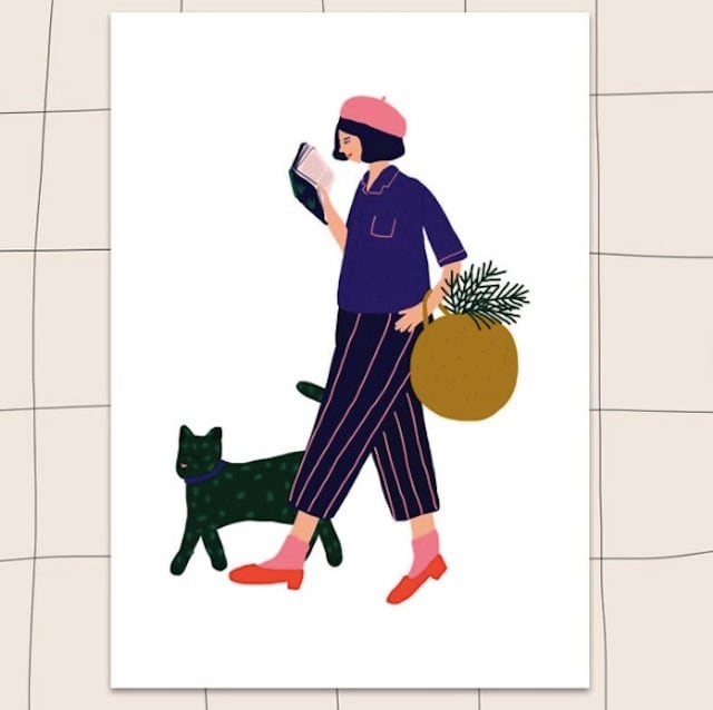 """Jennifer Bouron """"Girl reading with the cat"""" A5 print"""