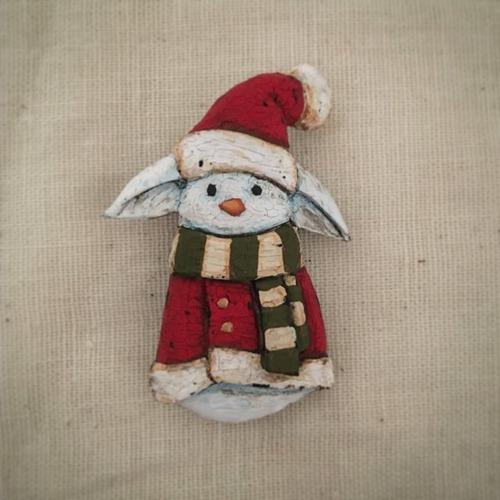 ブローチ スノーラビット (Pin resin brooch  Snow rabbit)