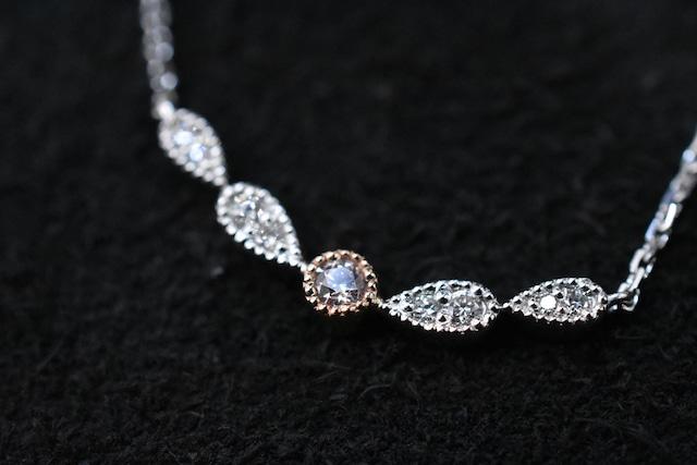 ピンクダイヤモンド ネックレス 0.04ct / PT900,K18PG