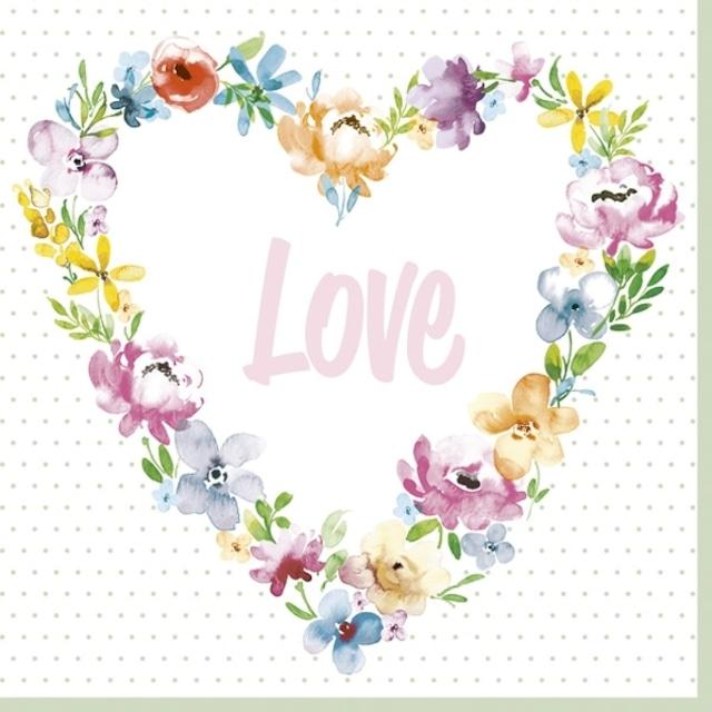 2021秋冬【Daisy】バラ売り2枚 ランチサイズ ペーパーナプキン Blossom Love ホワイト