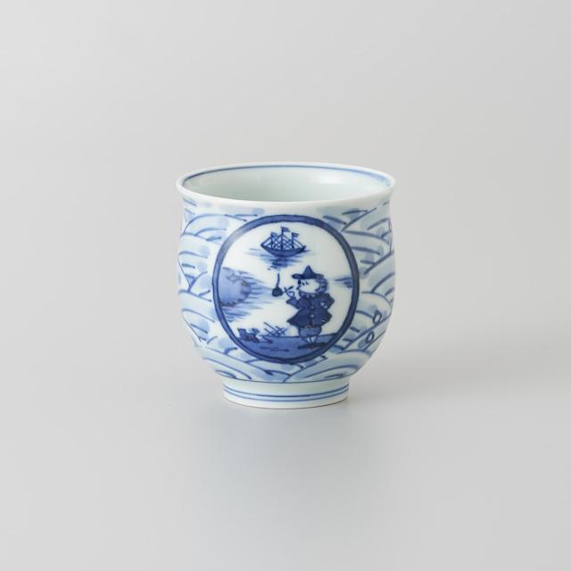 """【青花】""""長崎紋"""" 反湯呑[小]"""