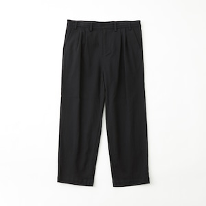 STRETCHED 2TUCK WIDE PANTS - BLACK