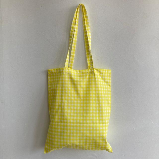 ギンガム チェック トートバッグ  黒 緑 黄色 ケニファイン 抗菌 シンバルプリント 内ポケット付 エコ バッグ 日本製 綿100% 洗える