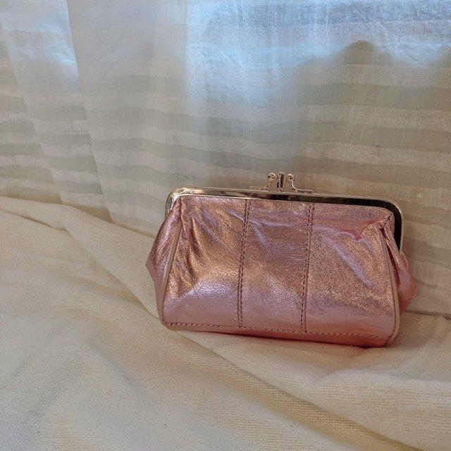 TOPANGA Bag カルテットがま口メタリックレザーウォレット ピンク
