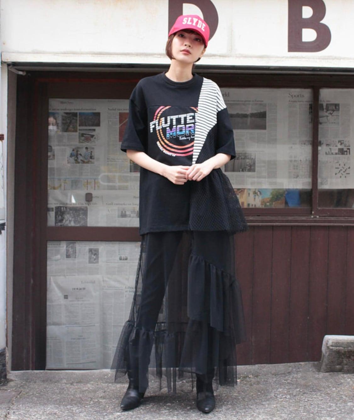 FLUMOR Tulle layered print dress