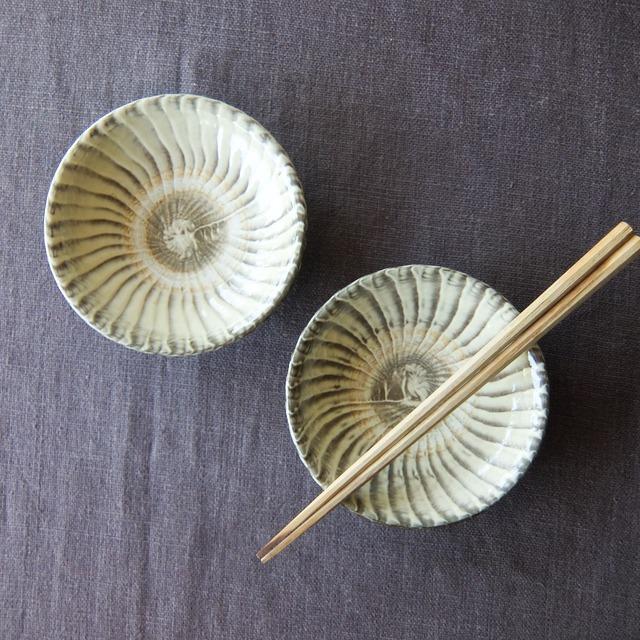 小鹿田焼 坂本工窯 - 4寸皿 - 刷毛目 (白)