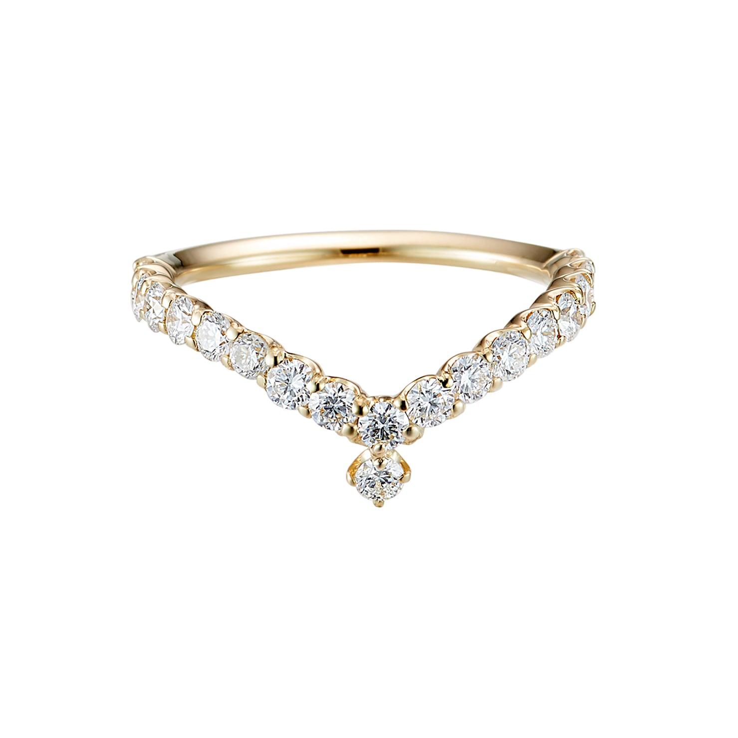 Everlasting Ring with a Diamond Drop / K18YG 3EX H&C Diamond