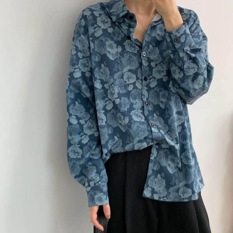 Vintage blue flower shirt(ヴィンテージブルーフラワーシャツ)b-087