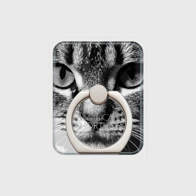 アメリカンショートヘア おしゃれな猫スマホリング【IMPACT -shirokuro- 】