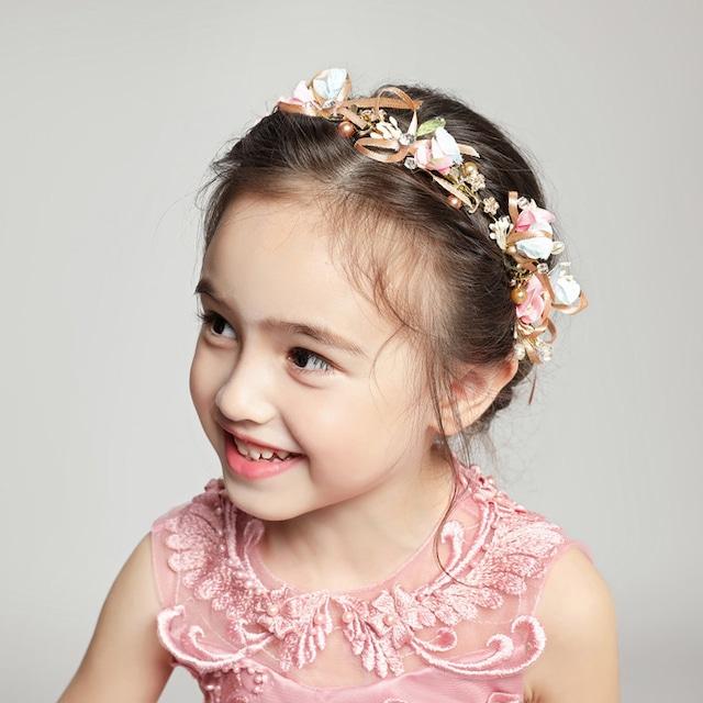 子どもカチューシャ フラワーティアラ 子供用 フォーマル用 髪飾り ヘアアクセサリー 結婚式 発表会 人気商品