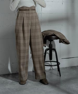 HIGH WAIST CHECK PANTS(BEIGE)