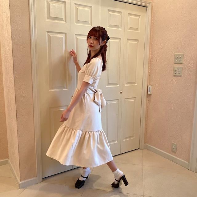 【original】 back ribbon one piece(white)