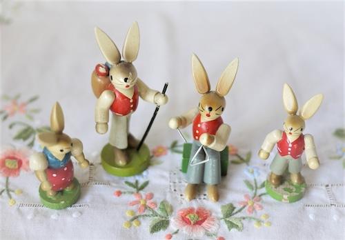 エルツ人形 イースターウサギ4p組  ESCO エスコ 木製工芸人形ドイツザイフェン