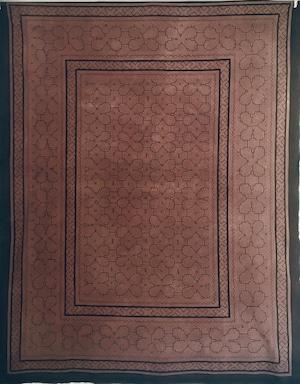 ベッドカバー 14 特大  150x190cm AAA アマゾン・シピボ族の泥染め ピンク系