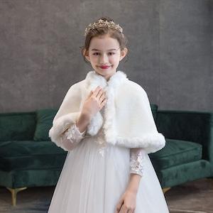 1519キッズ ボレロ  子供 ドレス 子ども フォーマル カーディガン 女の子ポンチョ キッズ ボレロ マント ファー 白色90cm-150cm