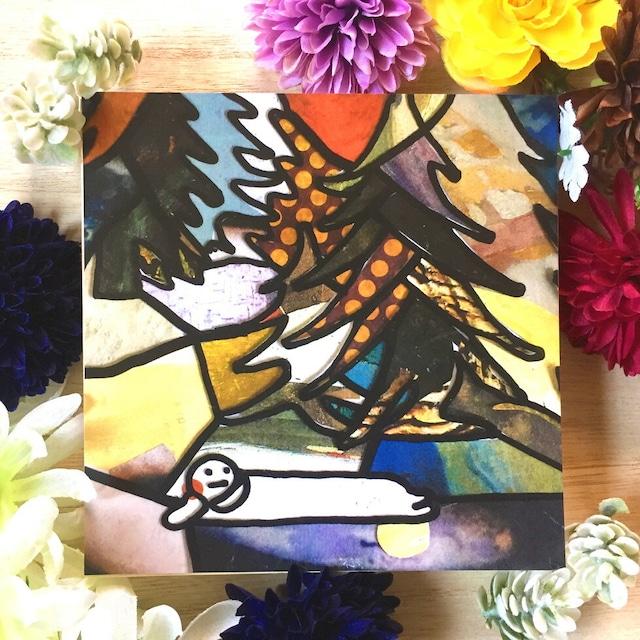 絵画 絵 ピクチャー 縁起画 モダン シェアハウス アートパネル アート art 14cm×14cm 一人暮らし 送料無料 インテリア 雑貨 壁掛け 置物 おしゃれ イラスト 今日 ロココロ 画家 : mycof 作品 : 今日は一日ここにいます