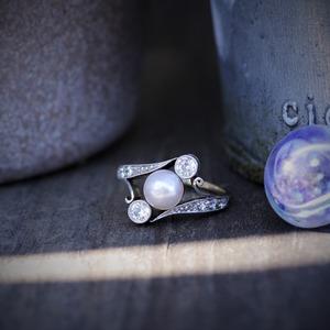 Edwardian Pearl & Diamond Ring circa 1910  エドワーディアン パール & ダイヤモンド リング