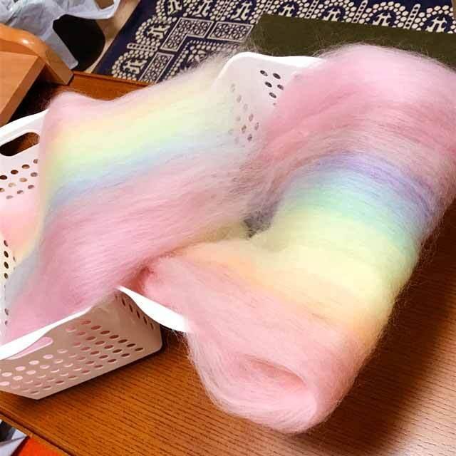 OGY14)虹色バッツ 手紡ぎ用羊毛 オリジナルブレンド