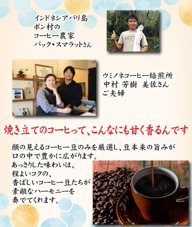 顔の見えるスペシャルティ―コーヒー200g インドネシアバリ島ディボンウォッシュド