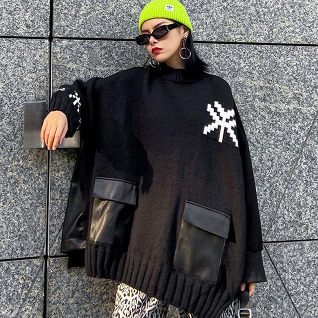 【トップス】ファッションレトロラウンドネックプルオーバー切り替えパーカー42908461
