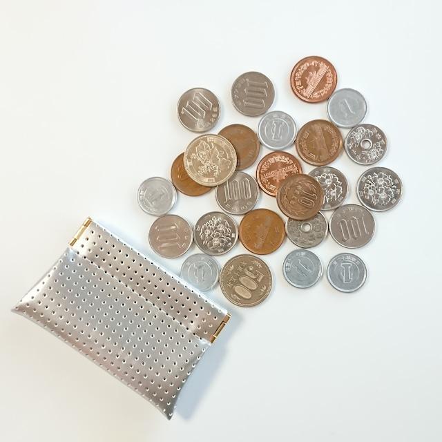 OSORO コインケースmini ☆ シルバー 小銭に指が届く 小さいけどたっぷりのコインを収納