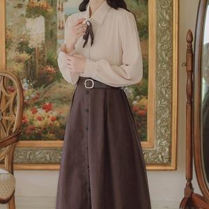 【2点セット】リボンブラウス+ボタンスカート ・19400